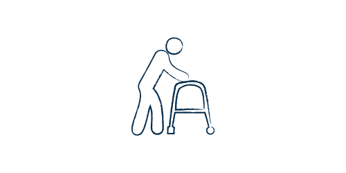 Icon of a disabled person using a walker