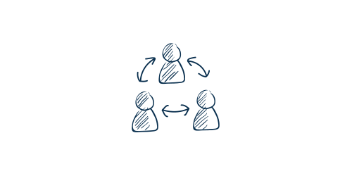 Icon of a cycle between three people
